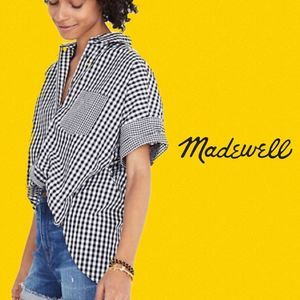 Madewell Oversized High-low Gingham Button up